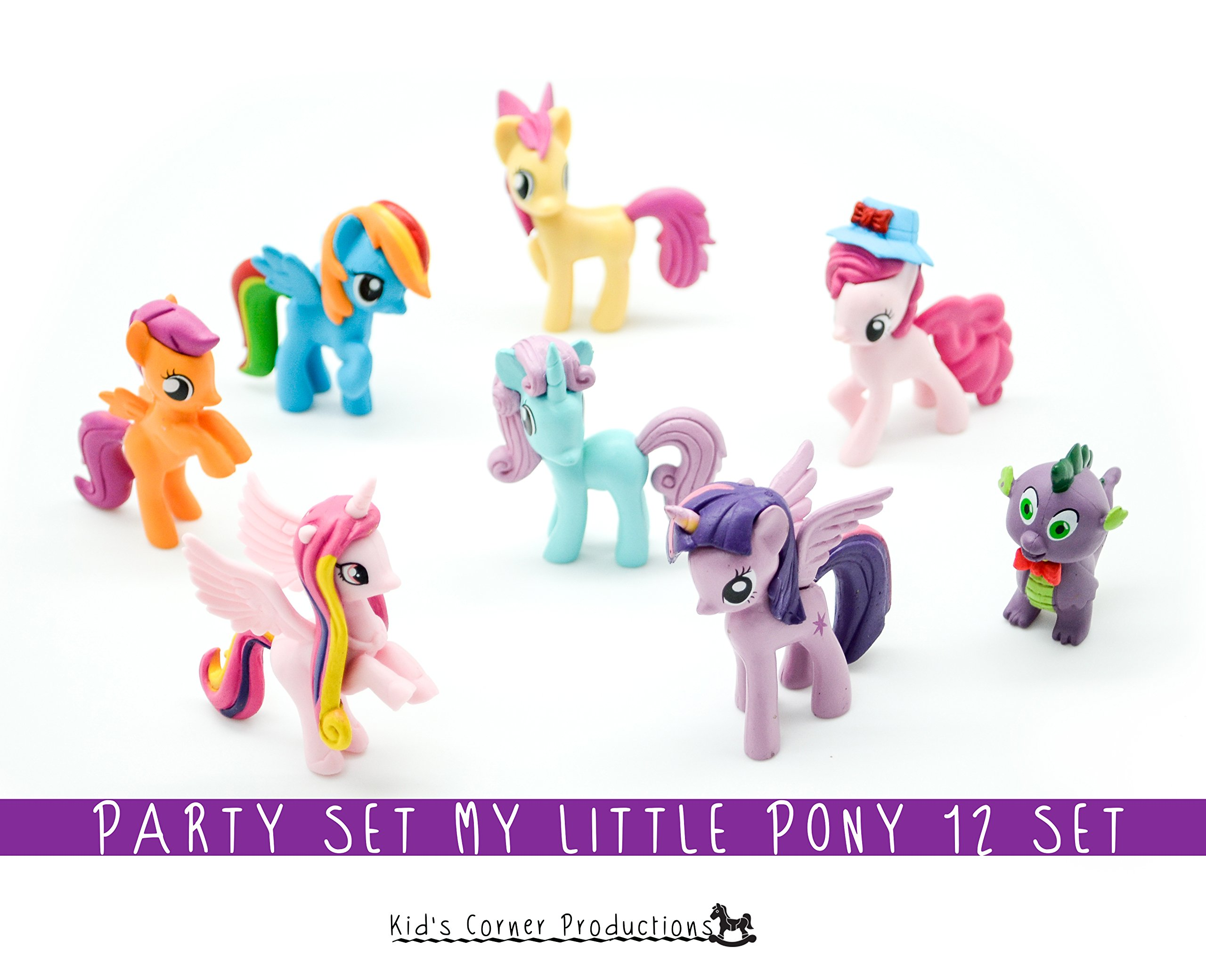 Kids Corner Productions - My Little Pony Party Bag Set of 12 Mini Figures, Cute Figures of Pinky Pie, Rainbow Dash, Rarity with Spike and many more Magic Figures