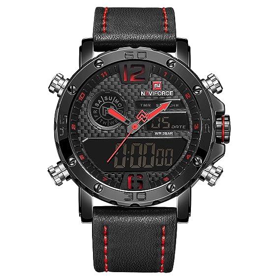Naviforce - Reloj Deportivo para Hombre, diseño Vintage, analógico, Digital, Cuarzo,