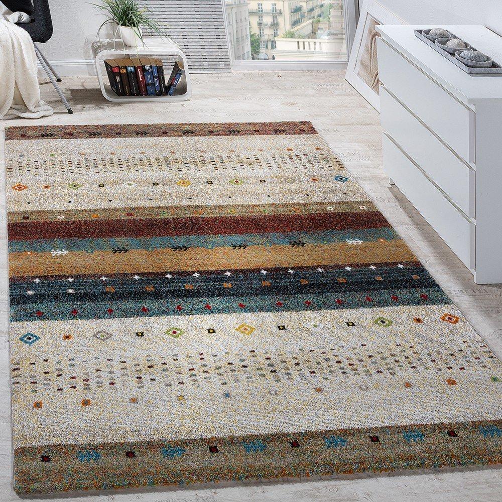 Paco Home Designer Teppich Modern Loribaft Nomaden Muster Gabbeh Optik Beige Creme Meliert, Grösse 160x230 cm