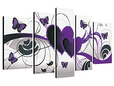 Wieco Art   Purple Love Butterfly 5 Panels Modern 100% Hand Painted  Abstract Oil Paintings