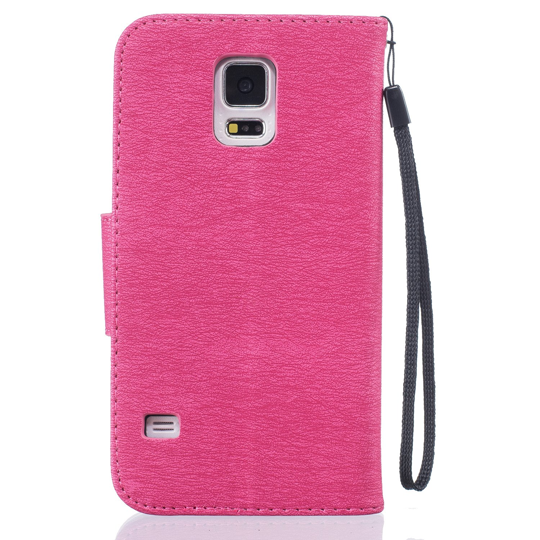Galaxy S5 Neo S5 Hülle Galaxy S5 Neo Hülle Galaxy S5 Hülle ikasus Handyhülle Galaxy S5 Neo S5 Ledercase Tasche Hüllen Brieftasche Prägung Vögel Feder
