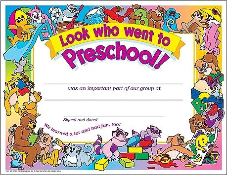 Look Who Went To Preschool Certificate 30 Pack
