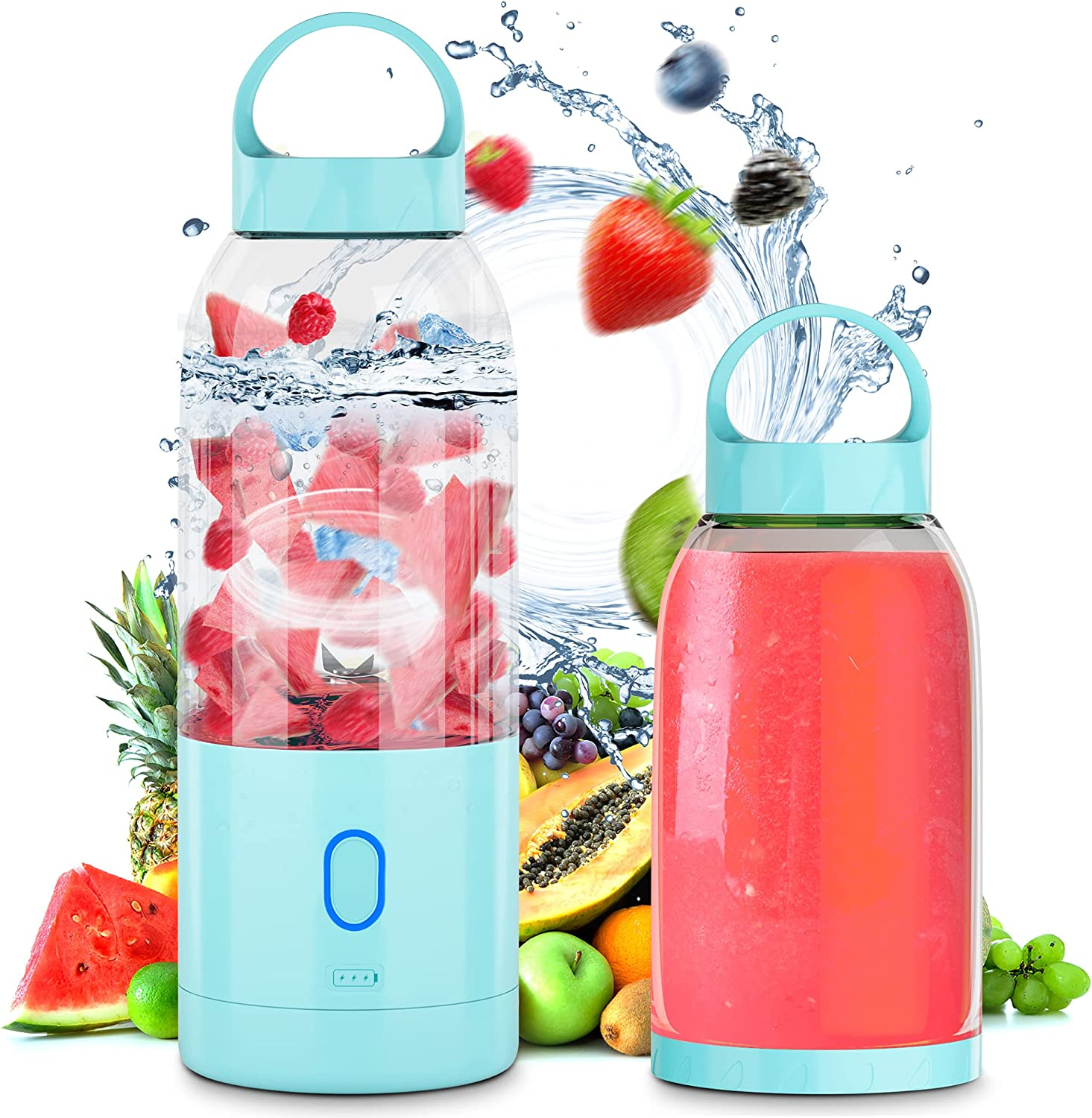 Portable Blender Electric, Likorlove Juicer Mixer Fruit Rechargeable Personal Size USB Home Jucie Blender Bottles 16.9 OZ for Shakes and Smoothie with Six Blades for Sports Travel Outdoors Mixing