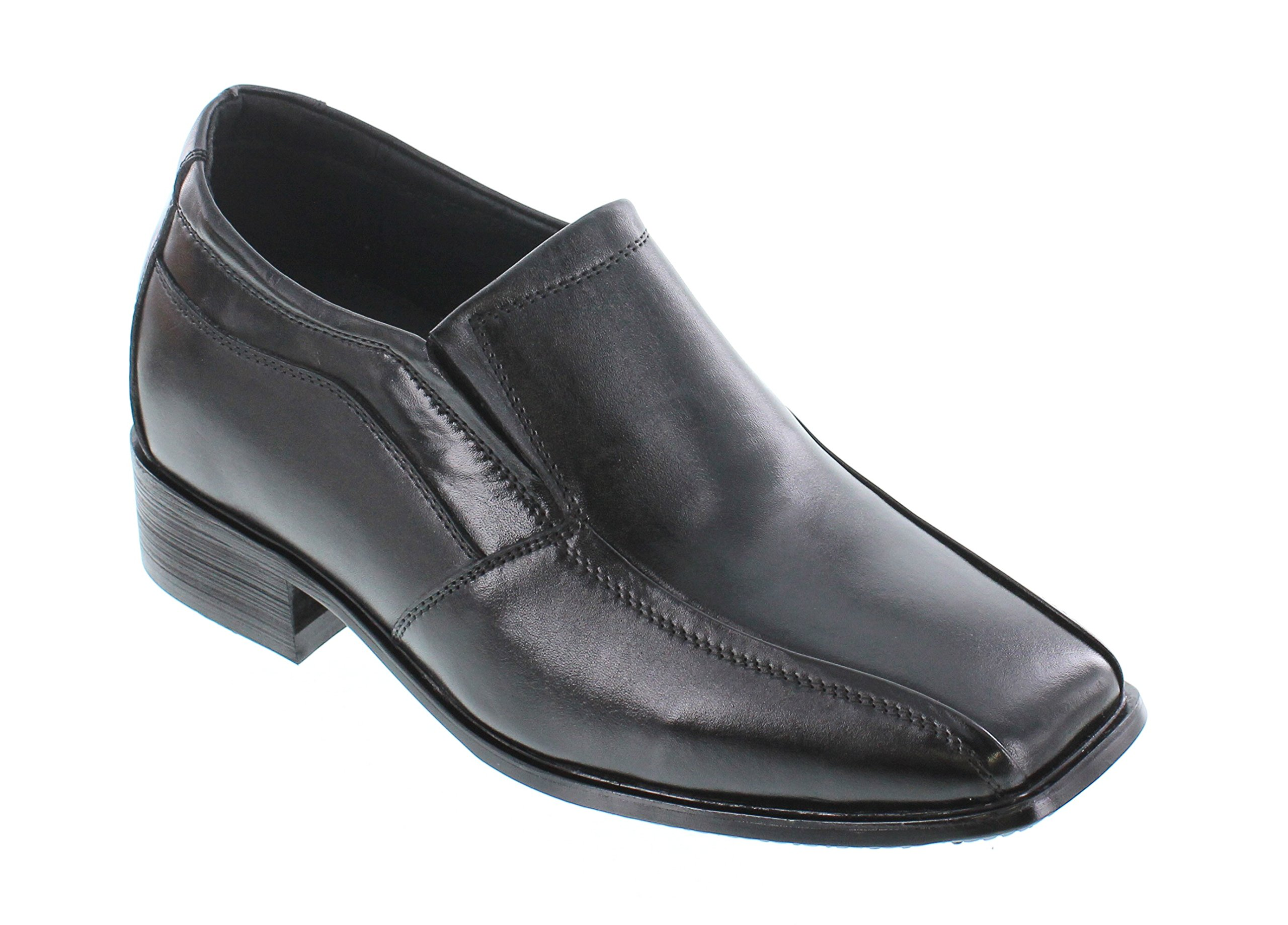 CALDEN K0285-2.8 inches Taller - Size 11 D US - Height Increasing Shoes for Men (Black Slip On Bicycle Square Toe)