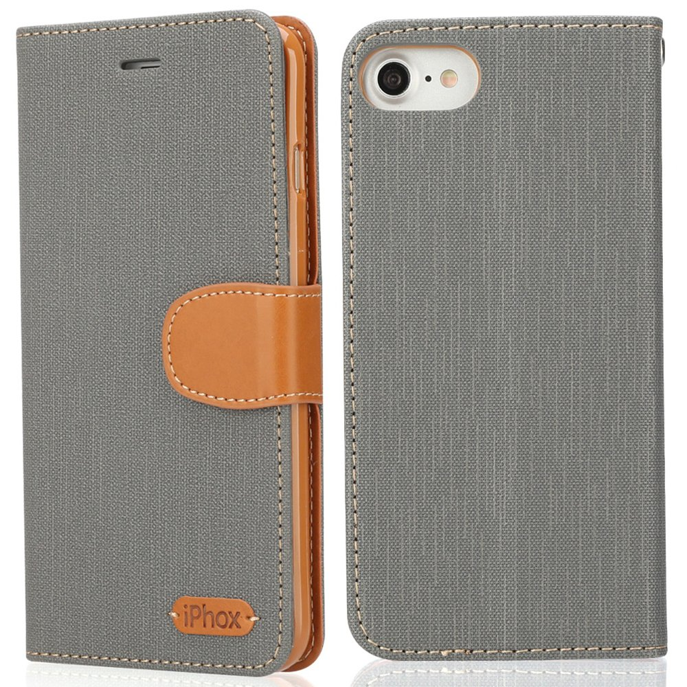 iPhone 8/7 Leather Case, IPHOX Premium Folio Leather Wallet Case Wireless Charging with [Kickstand] [Card Slots] [Magnetic Closure] Flip Notebook Cover Case for iPhone 7/8 (Rose Gold/E) IPHOX-E-7-Rose Gold