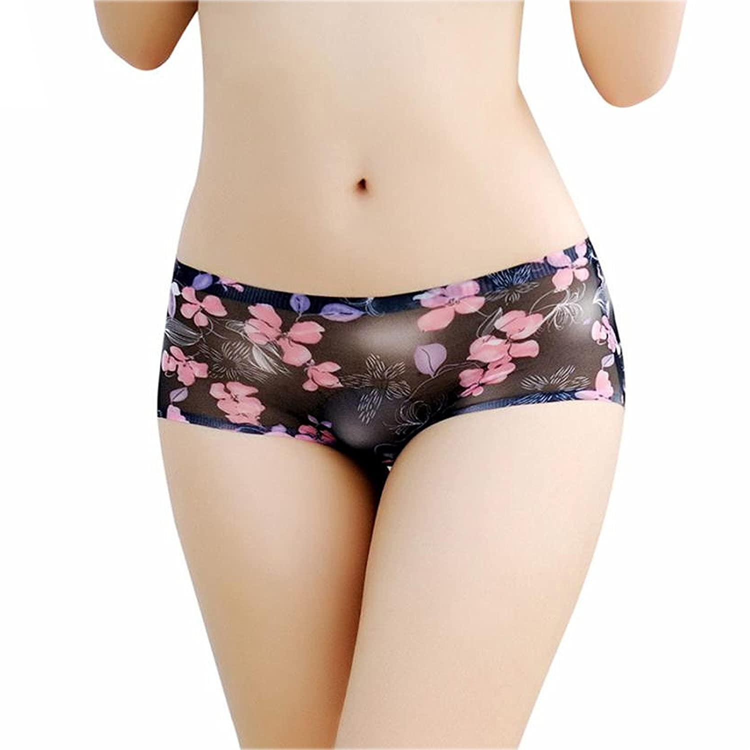 fd5d7fb7c10b Amorza Sexy Transparent Lace Panties Seamless Low Waist Printed Briefs  Panties Thongs Boyshort Lingerie Underwear Black: Amazon.in: Clothing &  Accessories