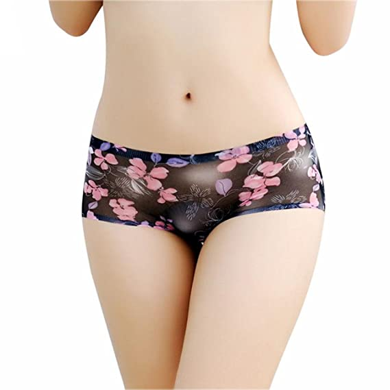 7afa6e44a264 Amorza Sexy Transparent Lace Panties Seamless Low Waist Printed Briefs  Panties Thongs Boyshort Lingerie Underwear Black: Amazon.in: Clothing &  Accessories