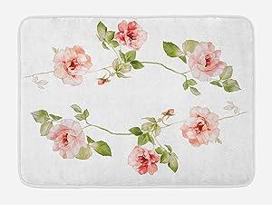 Ambesonne Floral Bath Mat, Romantic Rose Flower Petals Shabby Form Love Blooms Botanical Design, Plush Bathroom Decor Mat with Non Slip Backing, 29.5