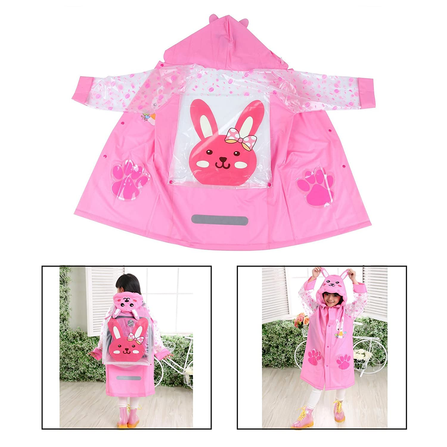 Itian Pink Cartoon Waterproof Hooded Raincoat Jacke Suit 4-10 Years Children for Outdoor Camping Cycling