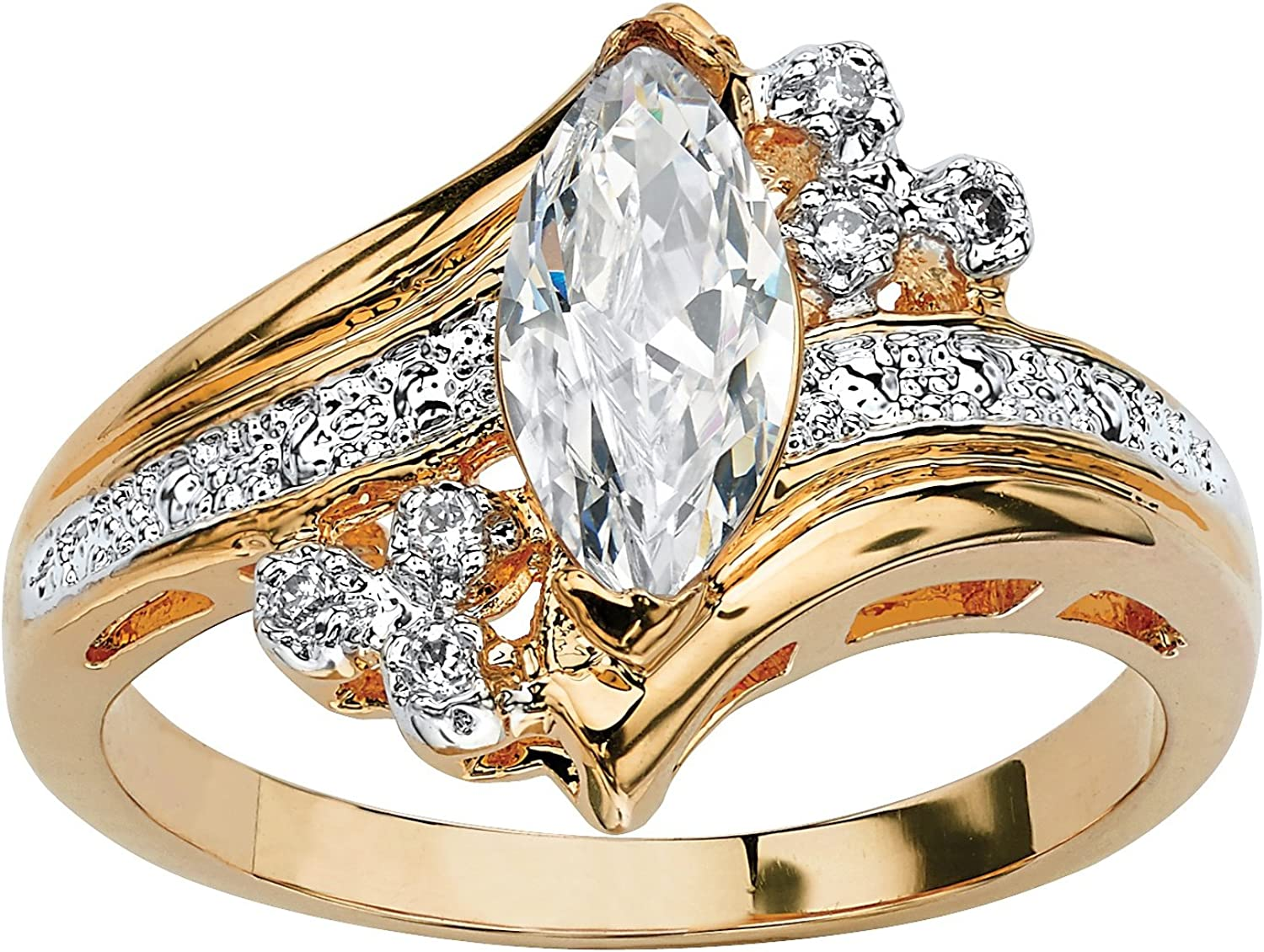 Palm Beach Jewelry 14K Yellow Gold Plated Marquise Cut Cubic Zirconia Bypass Engagement Ring