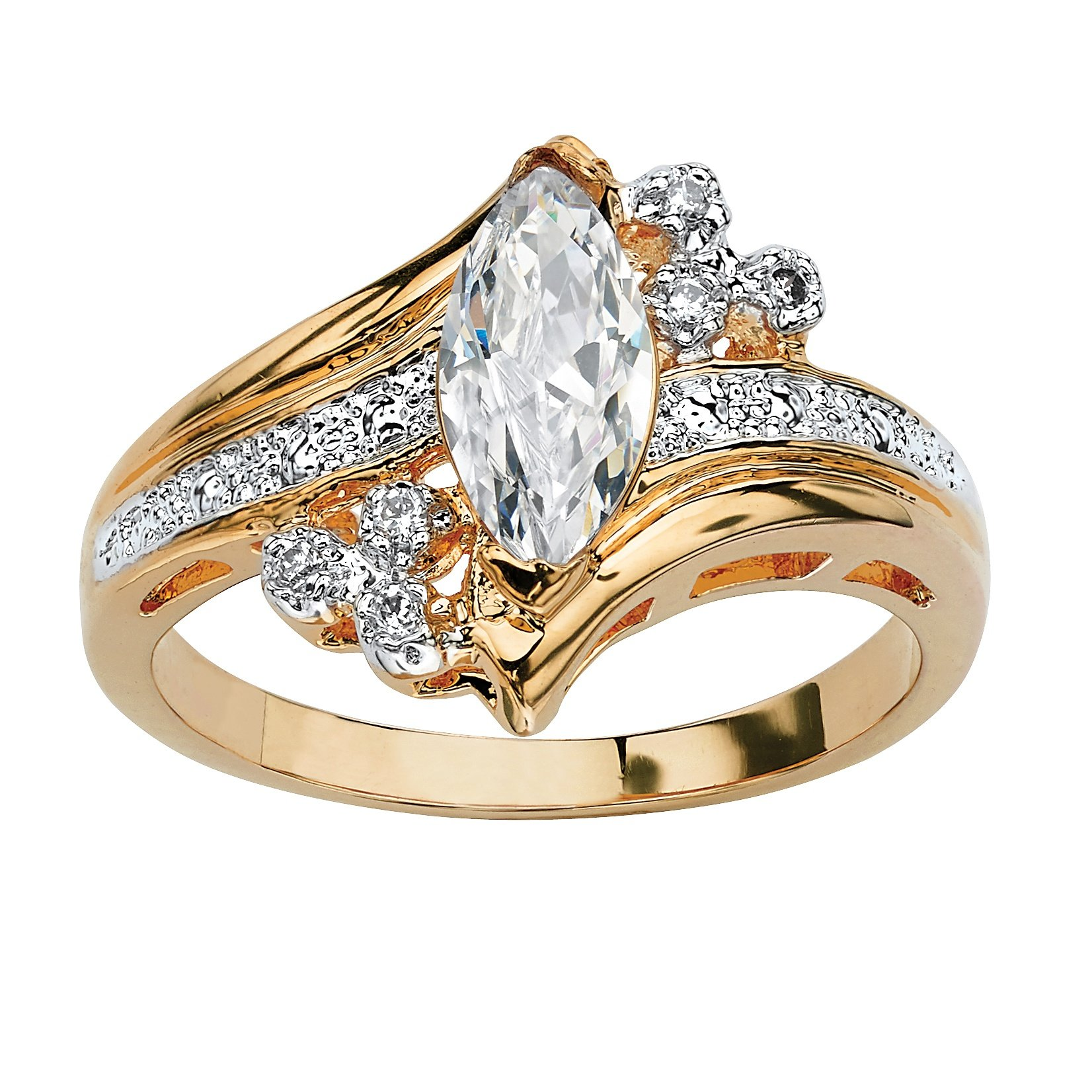 Palm Beach Jewelry 14K Yellow Gold-Plated Marquise Cut Cubic Zirconia Engagement Anniversary Ring Size 8