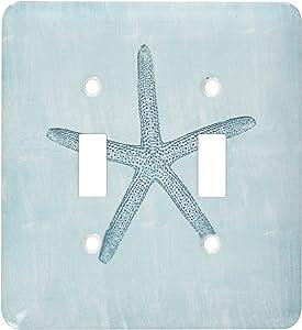 3dRose lsp_178911_2 Aqua Starfish Abstract Beach Theme Light Switch Cover