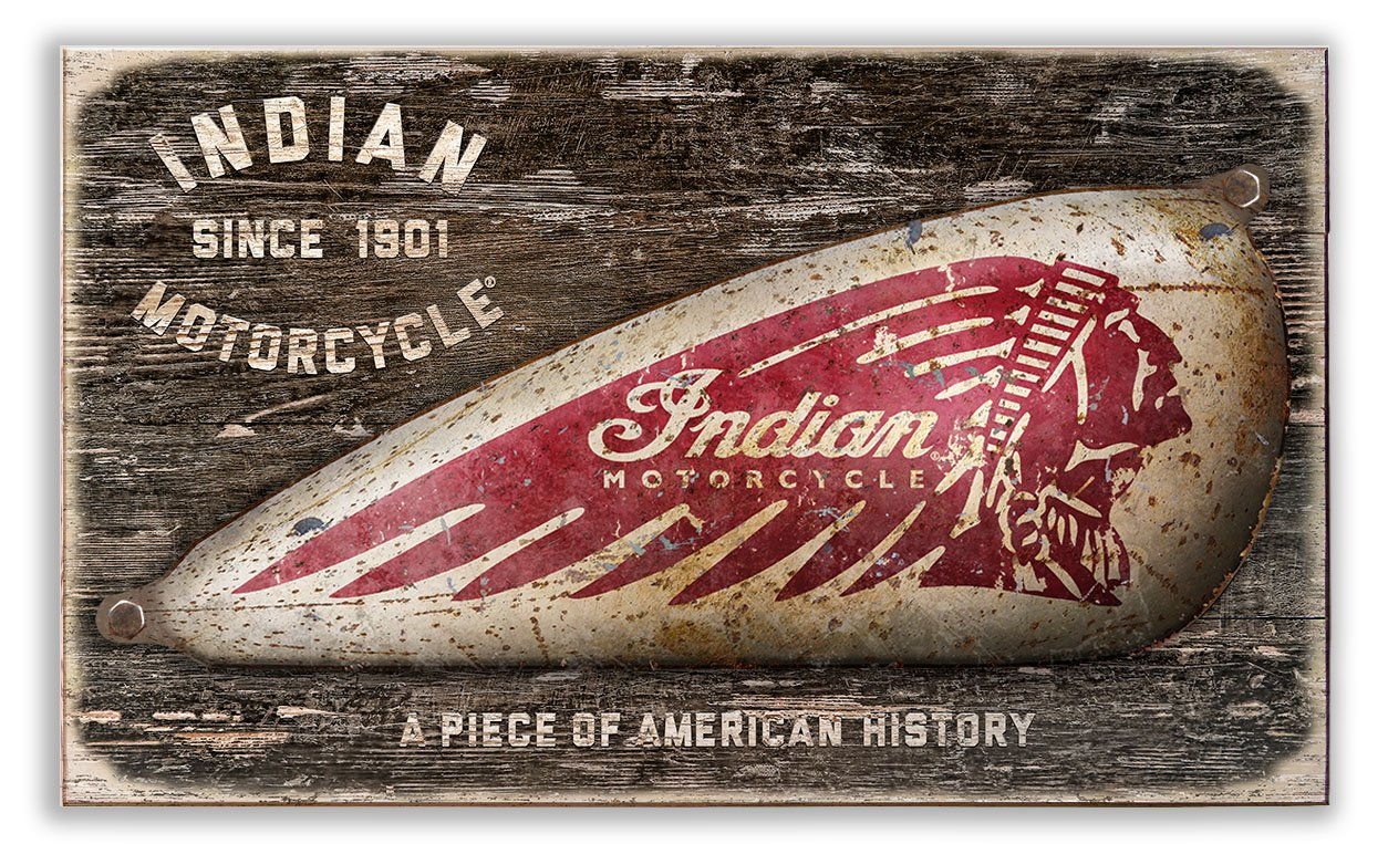 Indian Motorcycle Vintage Wood Sign with Stand-Off Domed Metal Gas Tank by OldWoodSigns