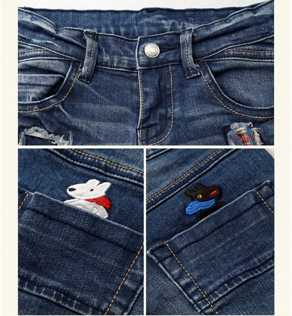 Enfants Gar/çons Jeans Denim Pantalons Trou Rapi/écer Mode Broderie Jean Pantalons Bleu 3-4 Ans