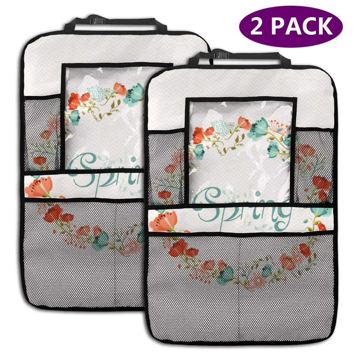 QF6FEICHAN Spring and Flowers Car Seat Back Protectors with Storage Pockets Kick Mats Accessories for Kids and Toddlers by QF6FEICHAN