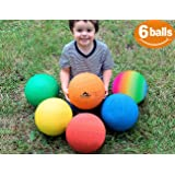 ToysOpoly Playground Balls 8.5 inch Dodgeball (Set of 6) Kickball for Kids and Adults - Official Size for Dodge Ball, Handball, Camps and Smart School + Free Pump