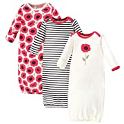 Touched by Nature Baby Organic Cotton Gowns, Poppy 3-Pack, 0-6 Months