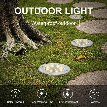 8 PACK-Warmwei/ß Solar Bodenleuchten en el suelo para Pathway Yard Patio Lawn Steps Decking 8 LED estanco rejilla Astigmatismus Shell Solar Gartenscheibe Lampe Solar Ground Lights