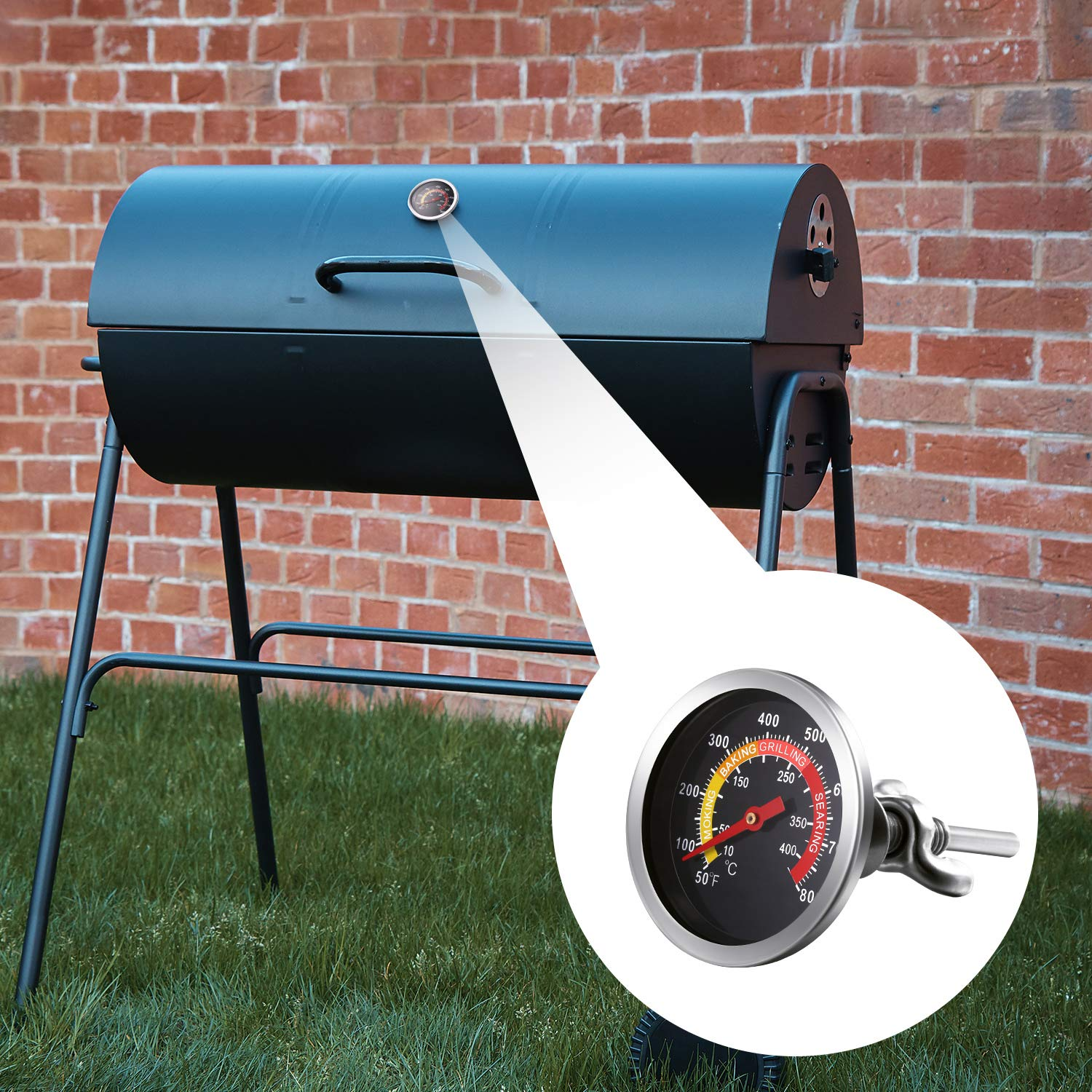 4 St/ücke 7,5 F/ü/ße BBQ Dichtung Raucher Grill Band Hochtemperatur Grill Dichtung 2 Zoll Messuhr Holzkohlegrill Thermometer BBQ Thermometer Manometer Holzkohlegrill 3 Zoll Stiel