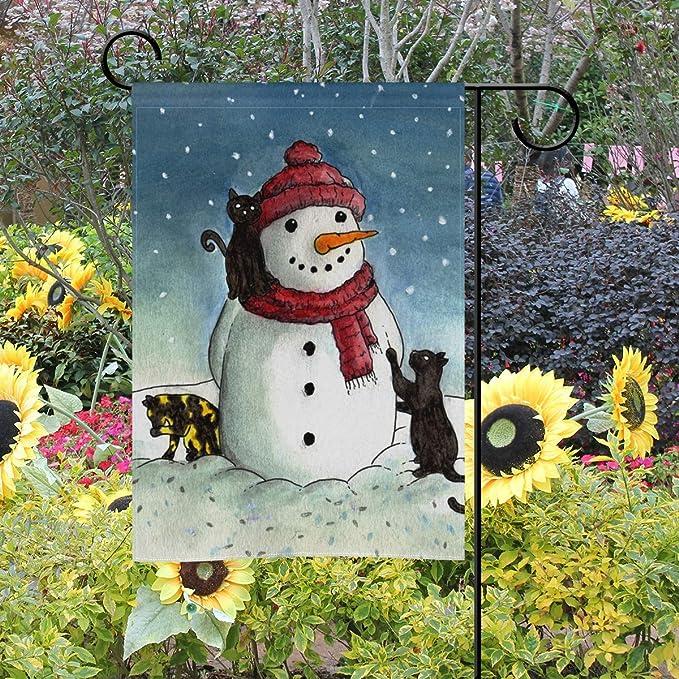 Bennigiry - Bandera Decorativa de Doble Cara para jardín, diseño de muñeco de Nieve y Gato Negro, 30, 5 x 45, 7 cm, 12x18(in): Amazon.es: Jardín