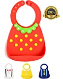 Premium Waterproof Silicone Bibs with Cute Designs - Keeps Stains Off, Wide Pocket Food Catcher for Easy Clean Up! Comfortable Soft for Babies or Toddlers! Portable, Dishwasher Safe!