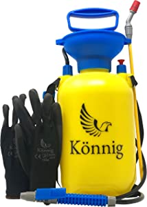 Könnig Lawn and Garden Sprayer 0.8 Gallon - Portable Pump Pressure Weed Killer with Nozzle for Water, Pesticides, Chemicals - 1 Free Pair of One-Size Garden Gloves