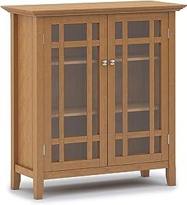 SIMPLIHOME Bedford SOLID WOOD 39 inch Wide Rustic Medium Storage Cabinet in Light Golden Brown, with 2 Tempered Glass Doors, 4 Adjustable Shelves