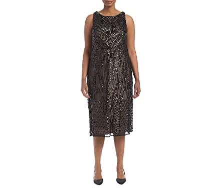 R&M Richards Womens One Piece Plus Size Embroidered Sequins Mesh Cocktail Dress: Amazon.co.uk: Clothing