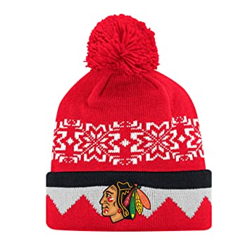a3b7dc995fd08 Chicago Blackhawks Adidas NHL Snowflake Cuffed Pom Knit Hat - One ...