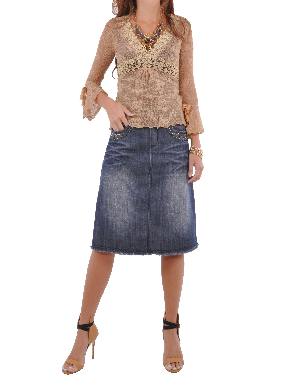 Style J Sparkle Me Blue Denim Skirt-Blue-28(8)