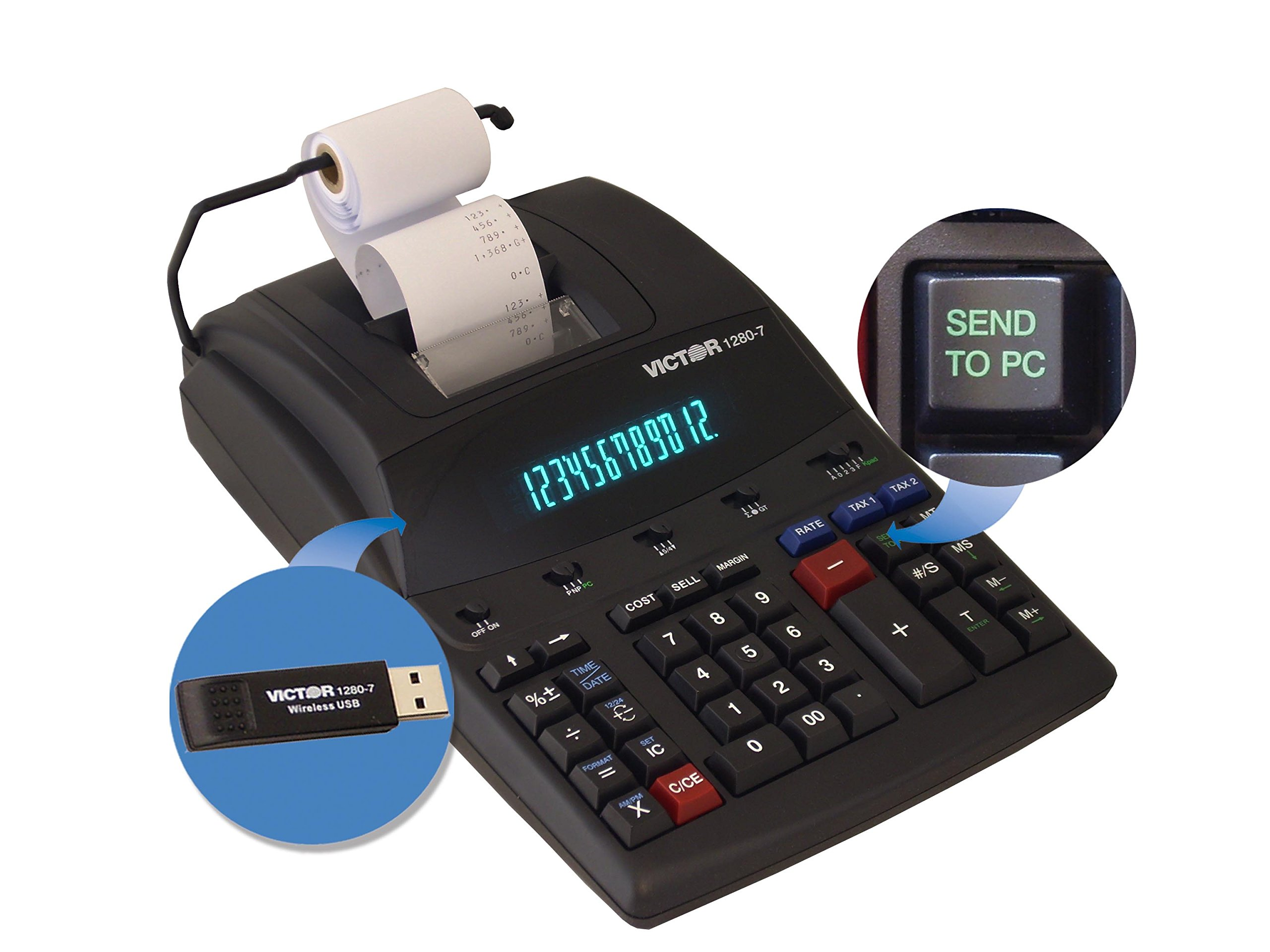 Victor 1280-7 Two-Color Printing Calculator w/USB, Black/Red Print