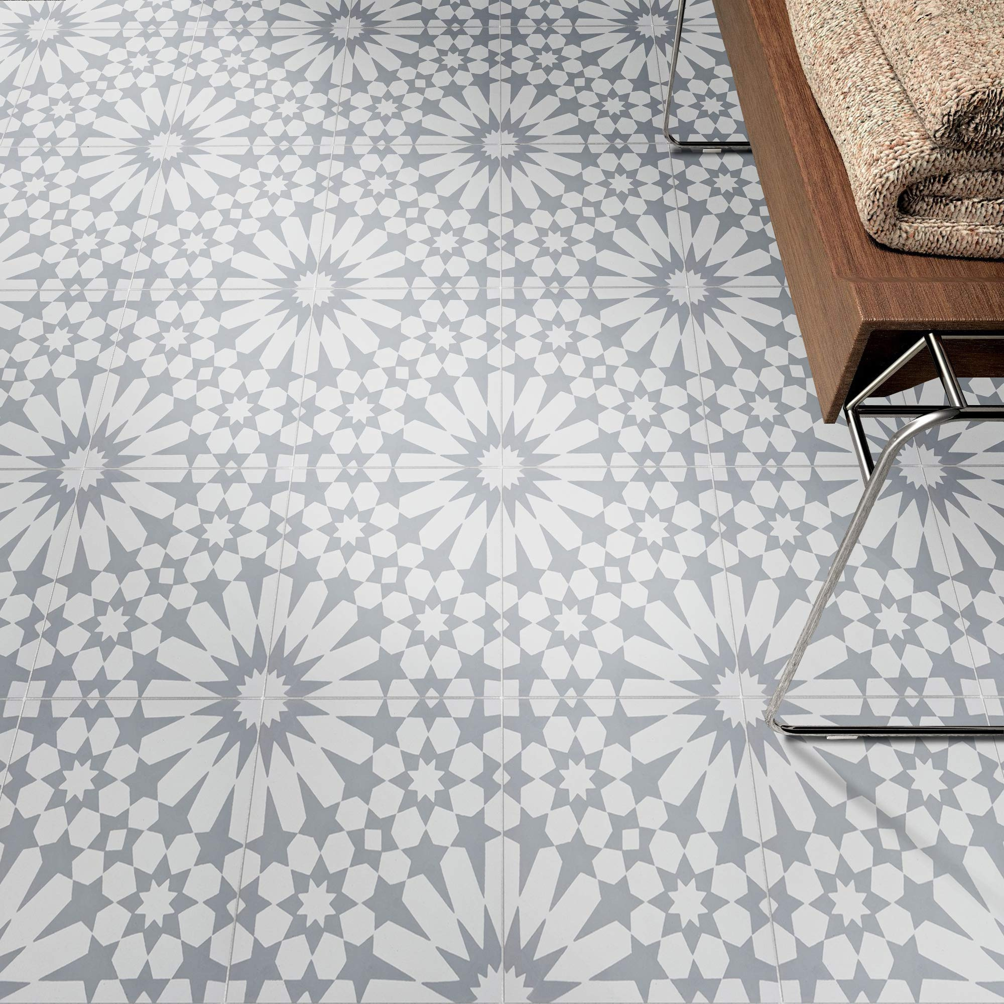 Moroccan Mosaic & Tile House CTP09-06 Adgal Handmade Cement Tile, 8''x8'', Grey and White