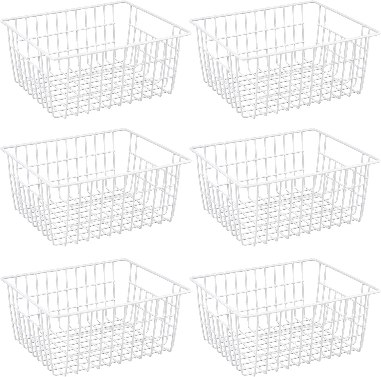 Freezer Refrigerator Wire Storage Baskets, iPEGTOP 6 Pack Metal Baskets Food Storage Organizer Bin with Built-in Handles for Freezer Pantry, Shelf, Freezer, Kitchen, Cabinet, Bathroom, White