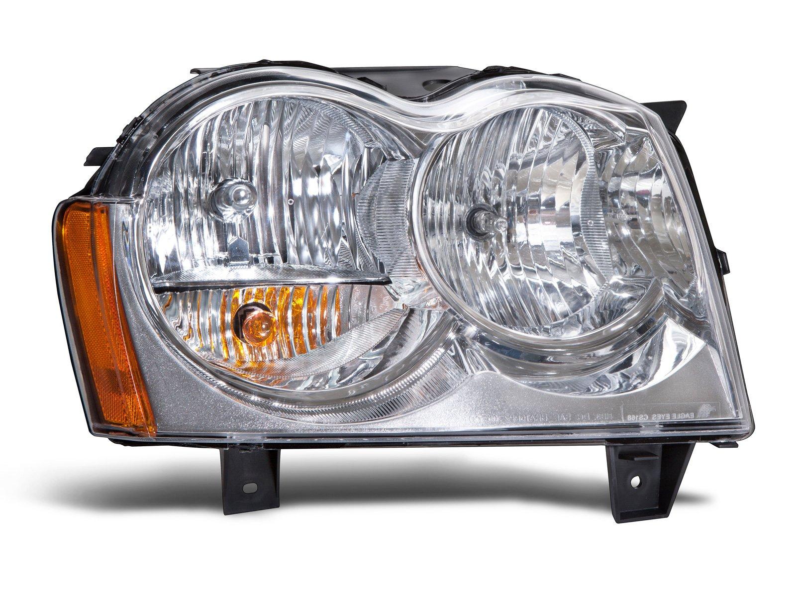 HEADLIGHTSDEPOT Chrome Housing Halogen Headlight Compatible with Jeep Grand Cherokee 2005-2007 Includes Right Passenger Side Headlamp