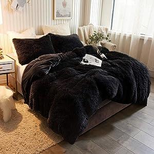 XeGe Plush Shaggy Duvet Cover Luxury Ultra Soft Crystal Velvet Bedding Set 1PC(1 Faux Fur Duvet Cover),Zipper Closure (Queen, Black)