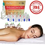 Chinese Acupuncture Cupping Therapy Sets- Professional Medical Grade 14 Cups (Guaranteed 5-yr Life), Vacuum Suction Pump, Extension Tube, for Clinical or Therapeutic Body Massage Pain Relief