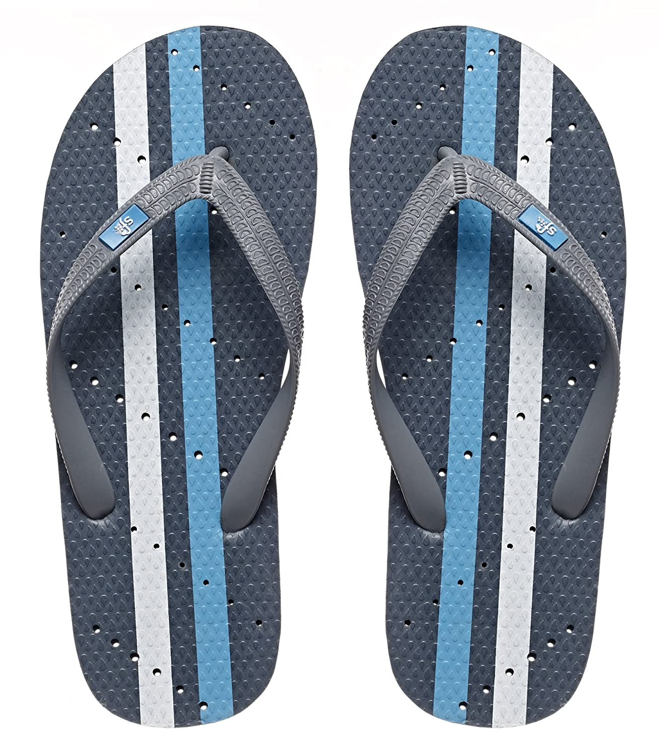 Showaflops Boys' Antimicrobial Shower & Water Sandals for Pool, Beach, Camp and Gym - Racing Stripes Group