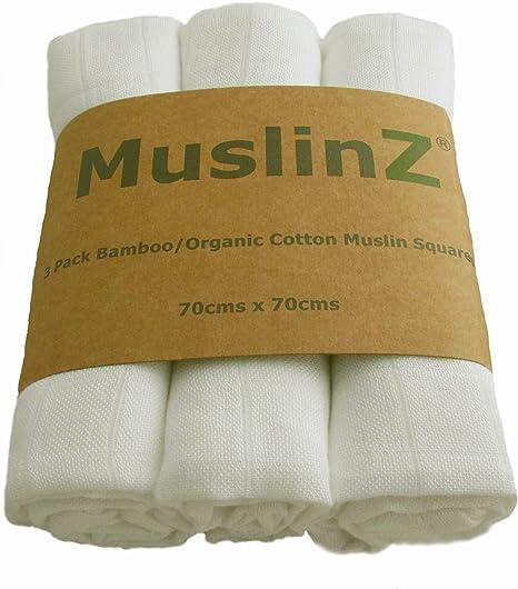 Paños de muselina Muslinz, bambú y algodón orgánico (70 cm, blanco ...