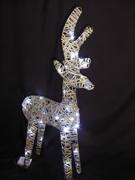 large light up 90cm 3ft pre lit rustic grey christmas reindeer figure ornament with bright white