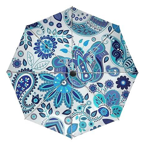 COOSUN Paisley estampado de flores sin fisuras automático 3 plegable del paraguas del parasol Color #