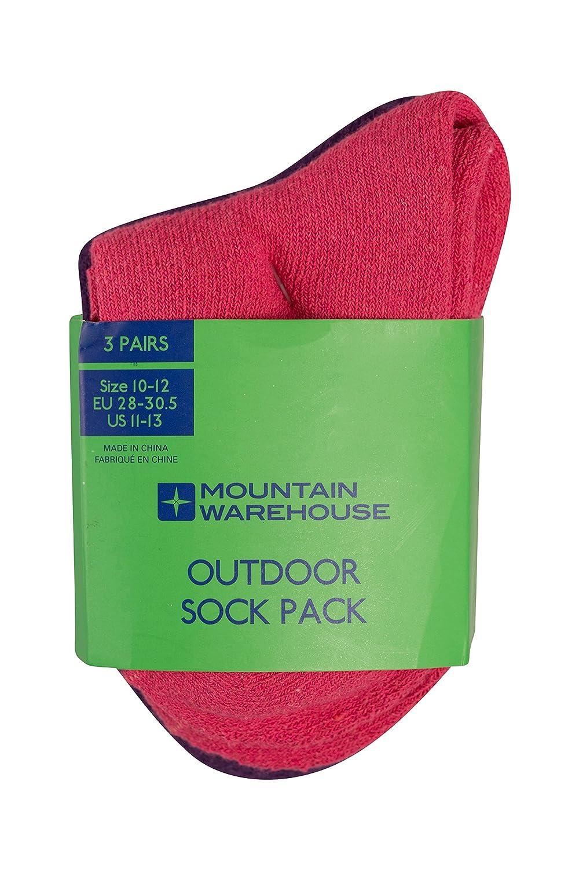 Mountain Warehouse Outdoor Socken für Kinder - 3er-Pack, Bequeme Sommersocken, Kindersocken, sichere Passform, feine Zehennähte - Ideal für Wandern, Reisen und Alltag