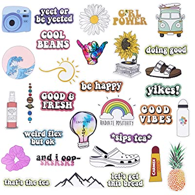 Cute VSCO Stickers for Water Bottles, 50 Pack Laptop Stickers Trendy Aesthetic Stickers Waterproof Stickers for Guitar Computer Phone, Water Bottle Stickers for VSCO Girls Teens (Clear): Electronics