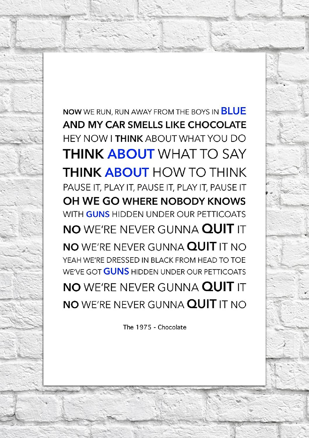 The 1975 - Chocolate - Lyrical Song Art Poster - Unframed Print ...