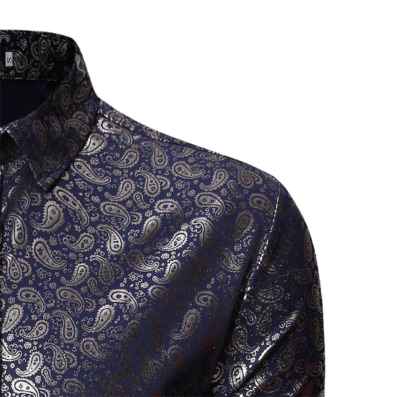 Mens Casual Lapel Print Long-Sleeved Shirt,Lattice Painting Large Size Casual Top Shirts Plaid Fleece Shirt