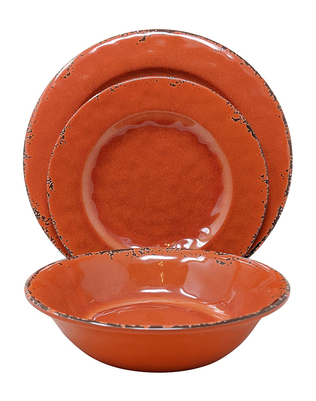 Gianna's Home 12 Piece Rustic Farmhouse Melamine Dinnerware Set, Service for 4 (Coral)