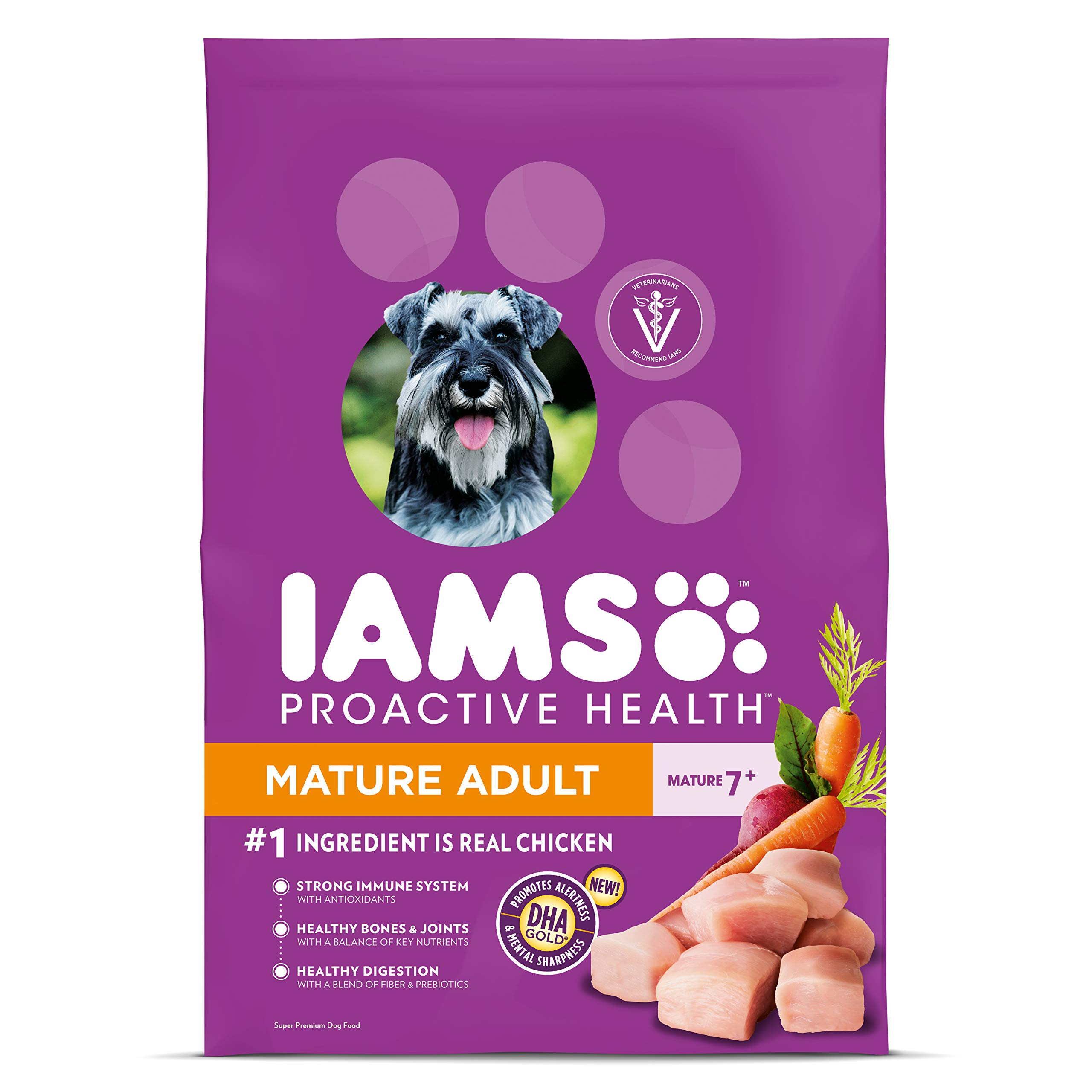 IAMS PROACTIVE HEALTH Mature Adult Dry Dog Food for Senior Dogs with Real Chicken, 29.1 lb. Bag by Iams
