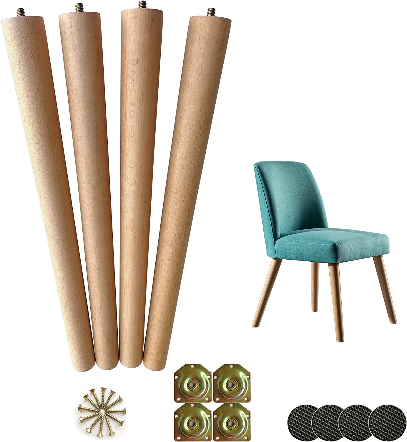 LIANGYUN Table Legs 16 Inch Wood Furniture Chair Legs ,Mid Century Modern Style Tapered Wood Furniture Legs with M8 Hanger Bolt for Coffee End Table,Set of 4,Accessories Included