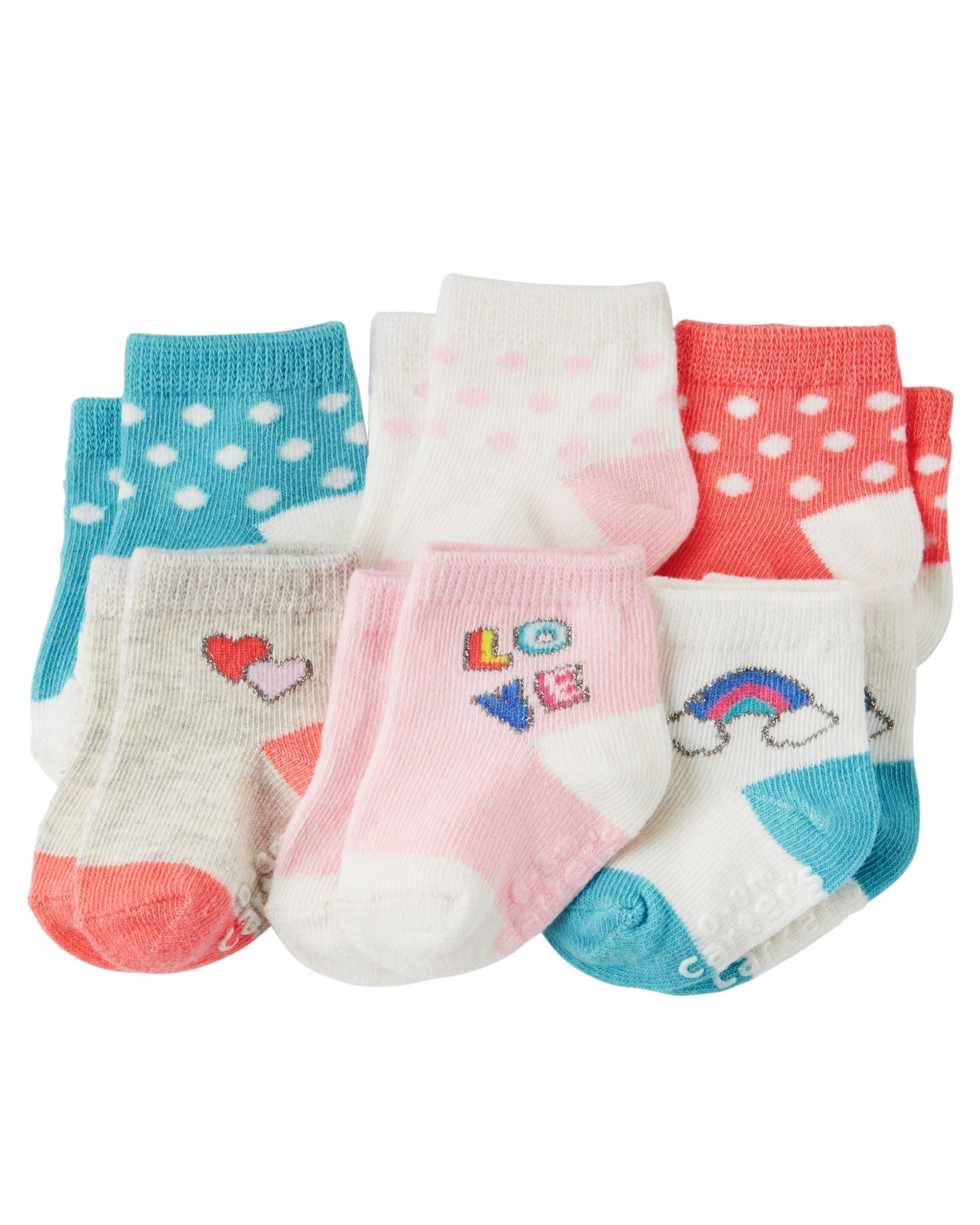 Carter's Baby-Girls Socks, Love, 0-3 Months (Pack of 6)