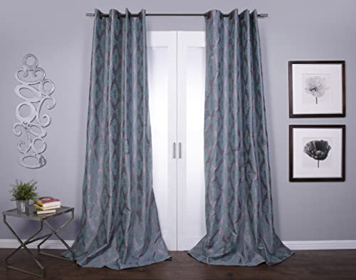 Zarya Flocked Faux Silk Grommet 84-inch Curtain Panel