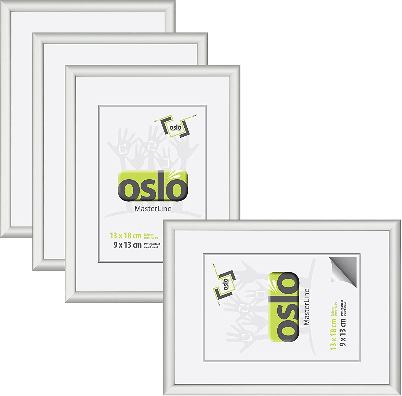 Amazon.de: OSLO MasterLine Bilderrahmen 13x18 silber matt Aluminium ...